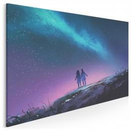 Noc meteorów - nowoczesny obraz do sypialni - 120x80 cm