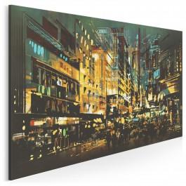 Miejska iluminacja - nowoczesny obraz na płótnie - 120x80 cm