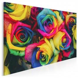 Tęczowe róże - fotografia na płótnie - 120x80 cm