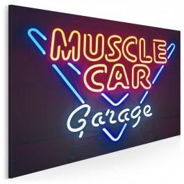 Muscle car garage - nowoczesny obraz na płótnie