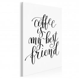 Coffee is my best friend - nowoczesny obraz na płótnie - 50x70 cm