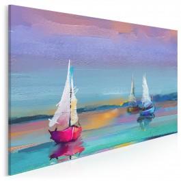 Zachód słońca na Mazurach - nowoczesny obraz na płótnie - 120x80 cm