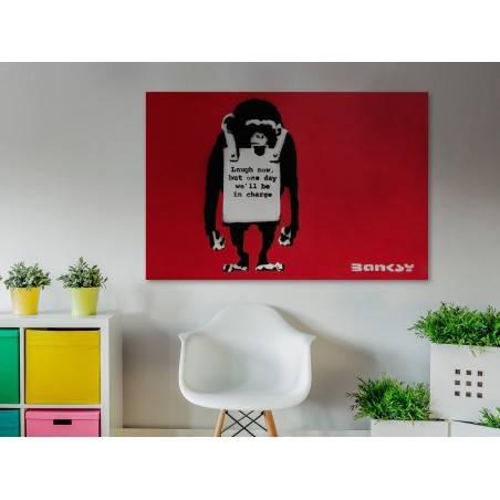 Banksy - Małpa - nowoczesny obraz na płótnie - 120x80 cm