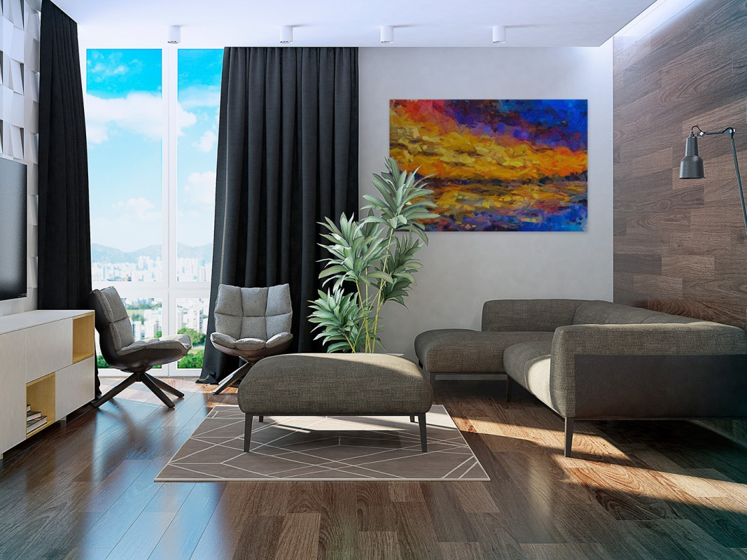 Przypływ o brzasku - nowoczesny obraz na płótnie - 120x80 cm