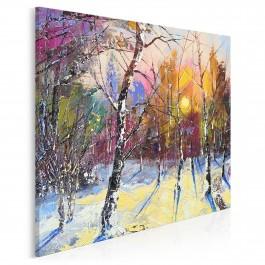 Zimowy poranek - nowoczesny obraz do salonu - 80x80 cm