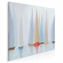 Błękitne regaty - nowoczesny obraz na płótnie - w kwadracie
