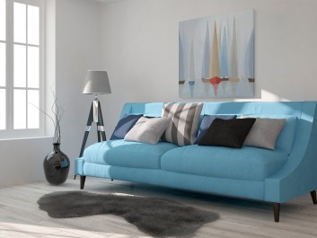 Błękitne regaty - nowoczesny obraz na płótnie - 80x80 cm