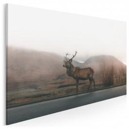 Jeleń na rykowisku - nowoczesny obraz na płótnie - 120x80 cm