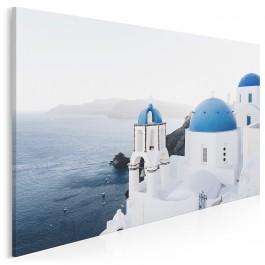 Błękitne dachy Santorini - zdjęcie na płótnie - 120x80 cm