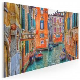 Weneccy gondolierzy - nowoczesny obraz na płótnie - 120x80 cm