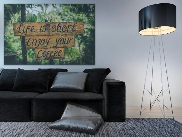 Life is short enjoy your coffee - fotoobraz na płótnie - 120x80 cm