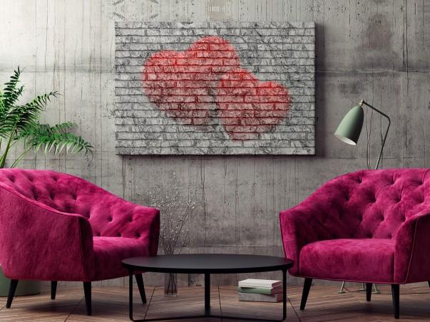 Dwa serduszka - fotografia na płótnie - 120x80 cm