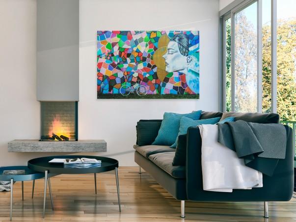 Kalejdoskop myśli - nowoczesny obraz na płótnie - 120x80 cm