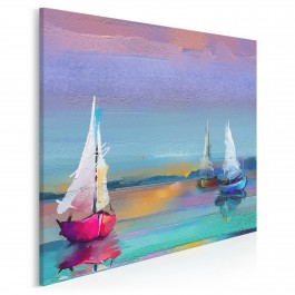 Zachód słońca na Mazurach - nowoczesny obraz na płótnie - 80x80 cm