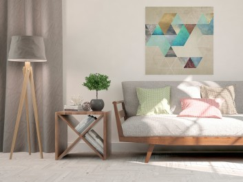 Heksagonalny przypływ - nowoczesny obraz na płótnie - 80x80 cm