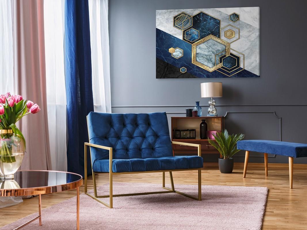 Szafirowy sygnet - nowoczesny obraz na płótnie - 120x80 cm