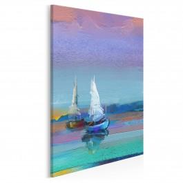 Zachód słońca na Mazurach - nowoczesny obraz na płótnie - wariant 2 - 50x70 cm