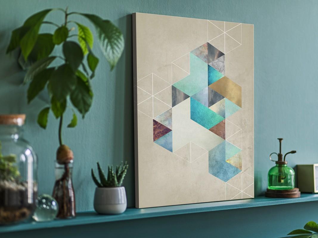 Heksagonalny przypływ - nowoczesny obraz na płótnie - 50x70 cm