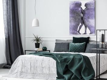 Metafizyka miłości we fioletach - nowoczesny obraz na płótnie - 50x70 cm