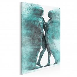 Metafizyka miłości w turkusach - nowoczesny obraz na płótnie - 50x70 cm