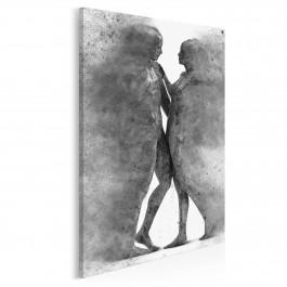 Metafizyka miłości w szarościach - nowoczesny obraz na płótnie - 50x70 cm