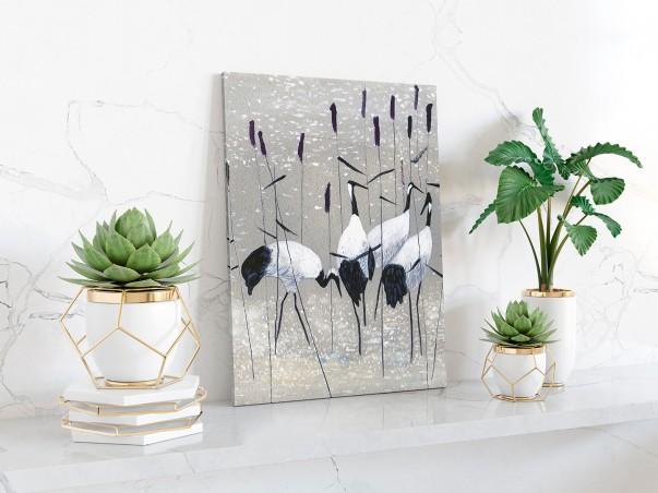 Żurawie nad rozlewiskiem - nowoczesny obraz na płótnie - 50x70 cm