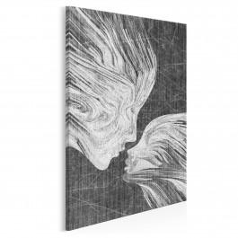 Taniec żywiołów w szarościach - nowoczesny obraz na płótnie - 50x70 cm