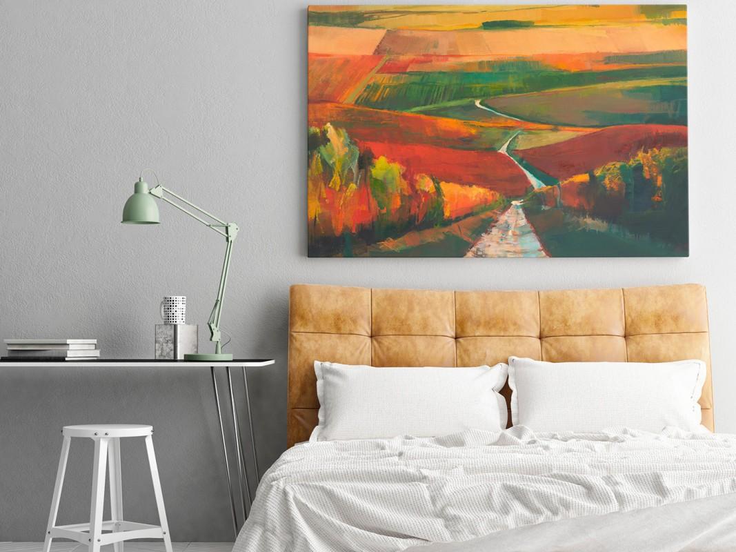 Jesienny szpaler - nowoczesny obraz do salonu - 120x80 cm