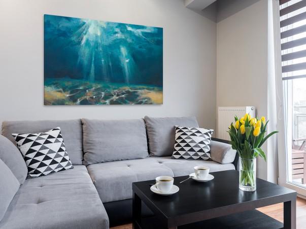 Szlachetny akwamaryn - nowoczesny obraz do salonu - 120x80 cm