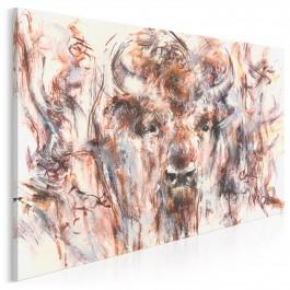 Żubr w puszczy - nowoczesny obraz na płótnie - 120x80 cm