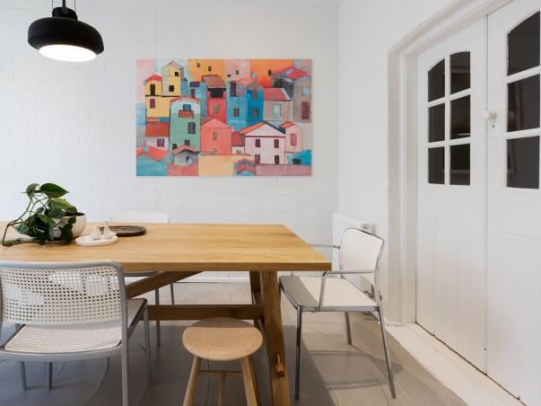 Domy z papieru - nowoczesny obraz na płótnie - 120x80 cm