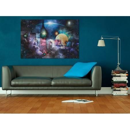 Gwiezdne miasto - nowoczesny obraz na płótnie - 120x80 cm