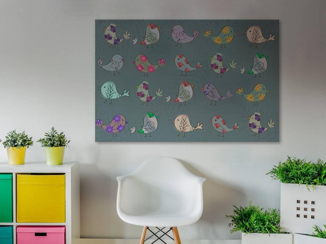 Ptasia rewia - nowoczesny obraz na płótnie - 120x80 cm