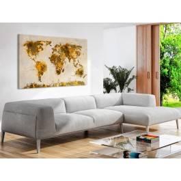 Mapa świata w brązach - nowoczesny obraz na płótnie - 120x80 cm