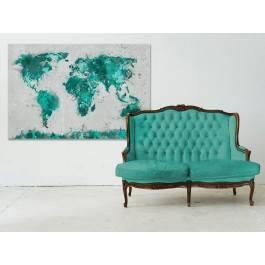Mapa świata w turkusach - nowoczesny obraz na płótnie - 120x80 cm