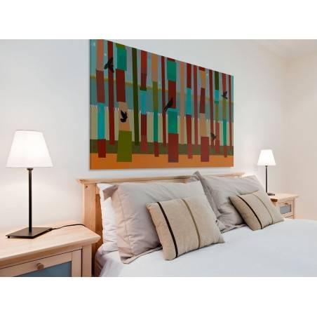 Barwna woliera - nowoczesny obraz na płótnie - 120x80 cm