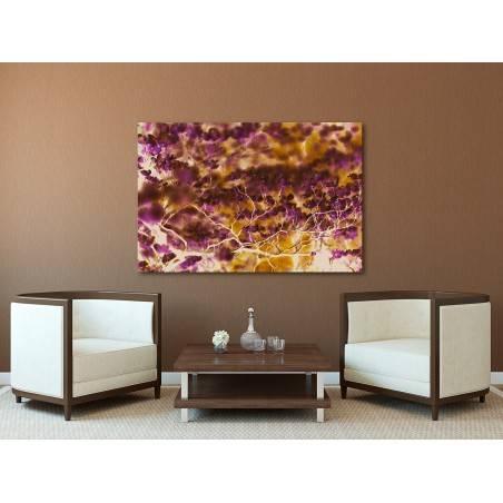 Abstrakcja w brązach i fioletach - nowoczesny obraz na płótnie - 120x80 cm