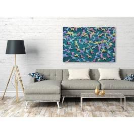 Pieśń kolibra - nowoczesny obraz na płótnie - 120x80 cm
