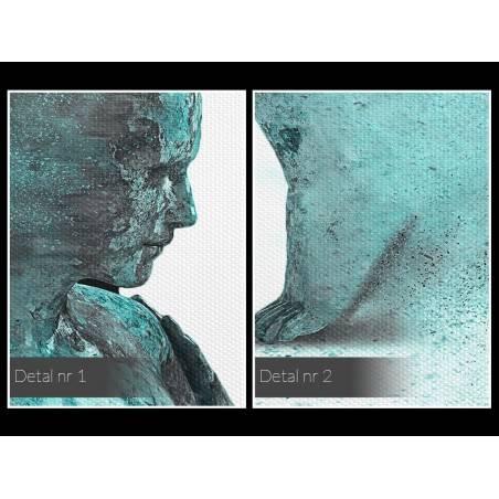 Metafizyka miłości w turkusach - nowoczesny obraz na płótnie - 120x80 cm