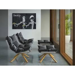 Banksy - Pulp fiction - nowoczesny obraz na płótnie - 120x80 cm