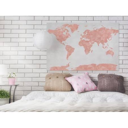 Geometryczna mapa w pastelach - nowoczesny obraz na płótnie - 120x80 cm