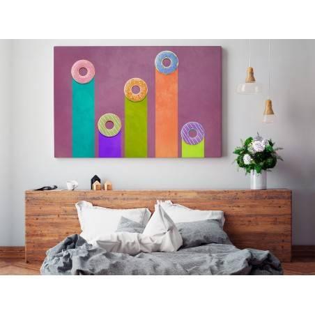 Donut worry be happy - nowoczesny obraz na płótnie - 120x80 cm