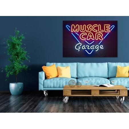 Muscle car garage - nowoczesny obraz na płótnie - 120x80 cm
