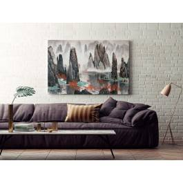 Mistyka gór Tianzi - nowoczesny obraz na płótnie - 120x80 cm