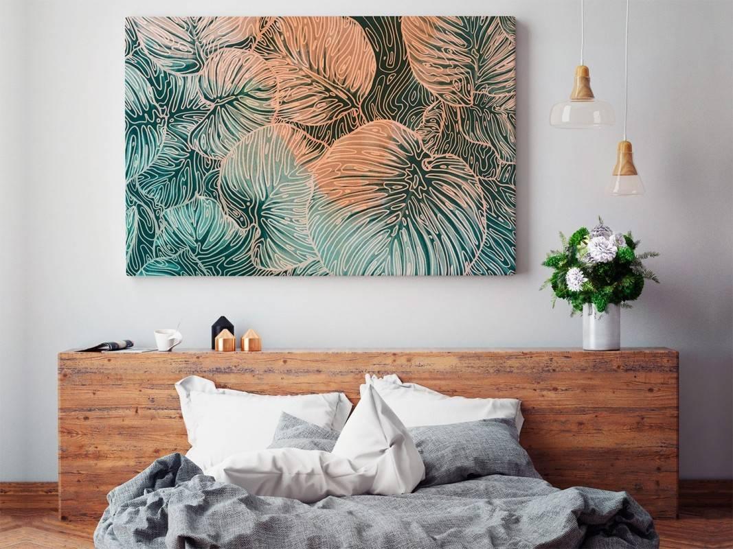 Monstera deliciosa - nowoczesny obraz do sypialni - 120x80 cm
