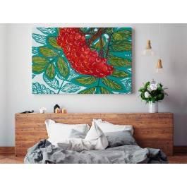 Czerwona jarzębina - nowoczesny obraz na płótnie - 120x80 cm