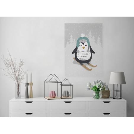 Pingwin Cezary - nowoczesny obraz na płótnie - 50x70 cm