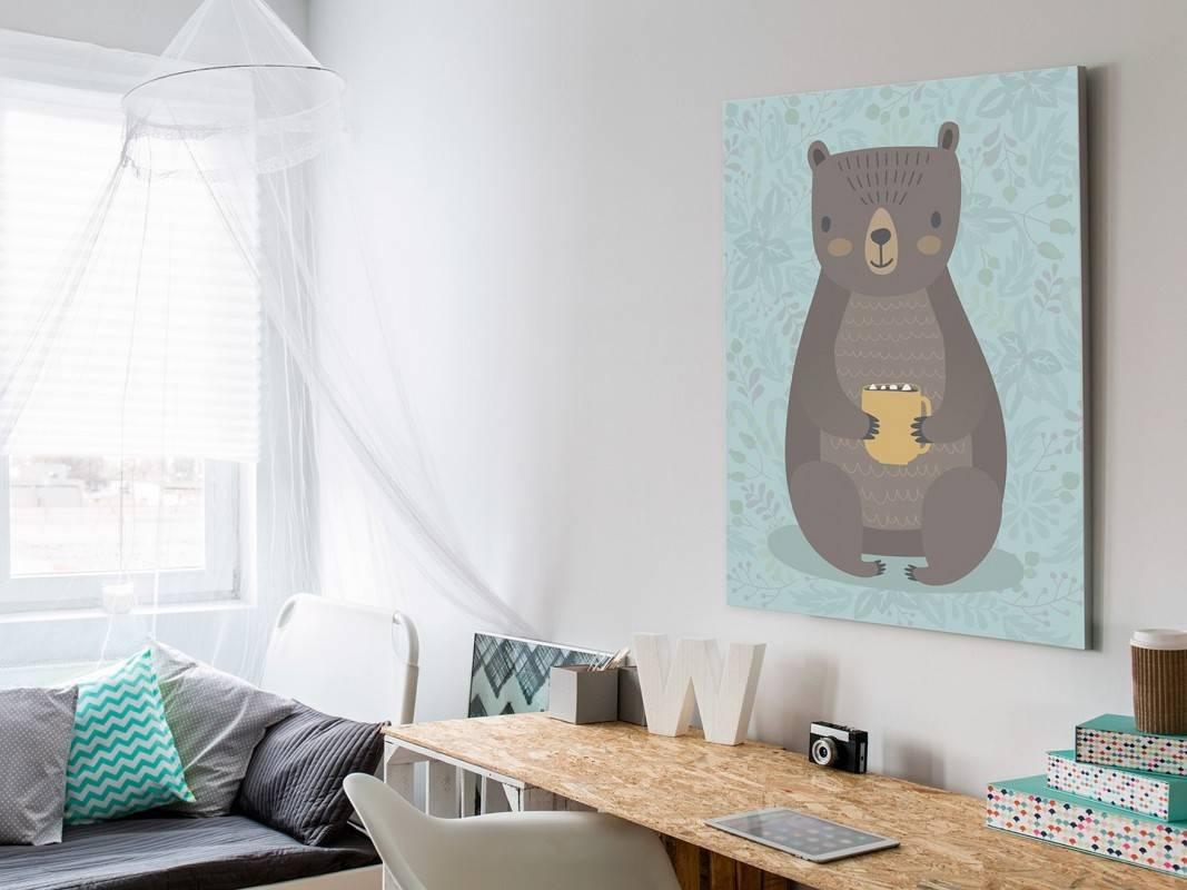 Niedźwiedź Lesław - nowoczesny obraz na płótnie - 50x70 cm
